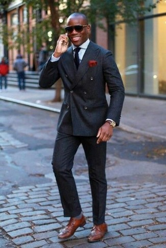 How to wear: brown leather derby shoes, black dress pants, light blue dress shirt, black double breasted blazer