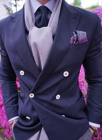How to wear: navy knit tie, grey dress pants, light violet gingham dress shirt, navy double breasted blazer