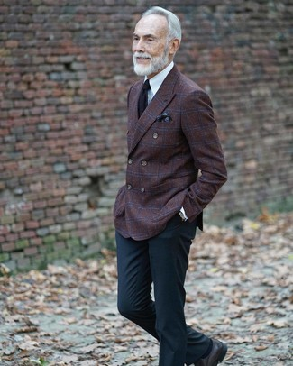 How to wear: black leather derby shoes, black dress pants, white dress shirt, dark brown check wool double breasted blazer