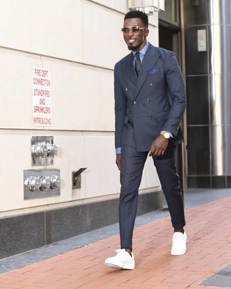 How to wear: white low top sneakers, charcoal dress pants, light blue dress shirt, charcoal double breasted blazer