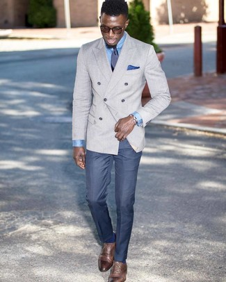 How to wear: brown leather oxford shoes, blue dress pants, light blue dress shirt, grey double breasted blazer