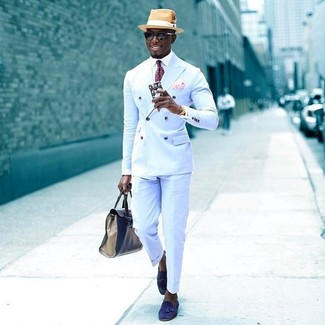 How to wear: blue suede tassel loafers, light blue dress pants, white dress shirt, light blue double breasted blazer