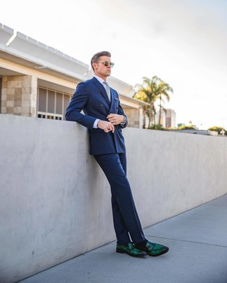 How to wear: dark green leather loafers, blue dress pants, light violet dress shirt, blue double breasted blazer