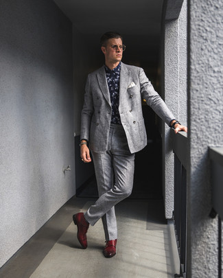 How to wear: red leather double monks, grey wool dress pants, navy and white floral dress shirt, grey wool double breasted blazer