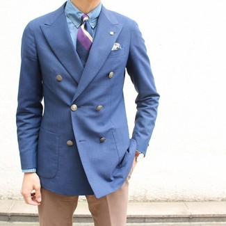 How to wear: purple vertical striped tie, khaki dress pants, light blue chambray dress shirt, blue double breasted blazer