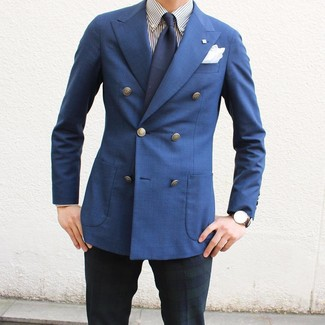 How to wear: navy tie, navy and green plaid dress pants, white and navy vertical striped dress shirt, blue double breasted blazer