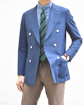 How to wear: navy and green horizontal striped tie, brown dress pants, blue dress shirt, blue double breasted blazer