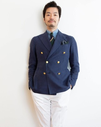 How to wear: navy and green horizontal striped tie, white dress pants, light blue chambray dress shirt, navy double breasted blazer