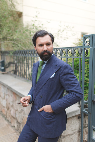 How to wear: green knit tie, navy seersucker dress pants, light blue vertical striped dress shirt, navy seersucker double breasted blazer