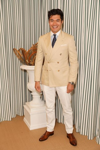 How to wear: brown leather oxford shoes, white dress pants, white and blue vertical striped dress shirt, tan double breasted blazer