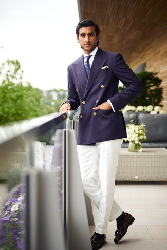 How to wear: black leather tassel loafers, white dress pants, white dress shirt, navy double breasted blazer