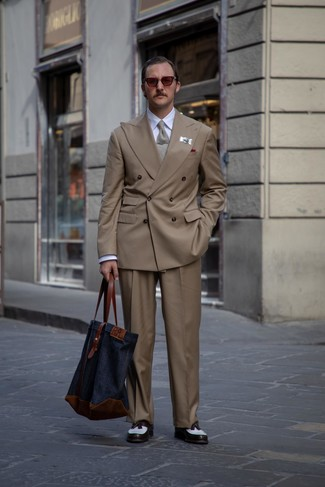 How to wear: white and black leather tassel loafers, brown dress pants, white dress shirt, brown double breasted blazer