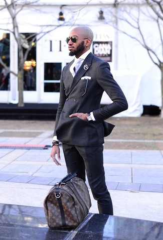 How to wear: dark brown print leather holdall, charcoal dress pants, white dress shirt, charcoal double breasted blazer