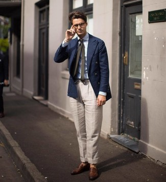 How to wear: brown leather loafers, beige linen dress pants, light blue vertical striped dress shirt, navy double breasted blazer