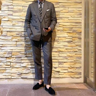 How to wear: black suede tassel loafers, charcoal dress pants, white vertical striped dress shirt, charcoal double breasted blazer