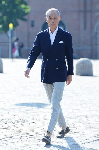 Noboru Kakuta wearing Dark Brown Leather Boat Shoes, Grey Dress Pants, White Dress Shirt, Navy Double Breasted Blazer