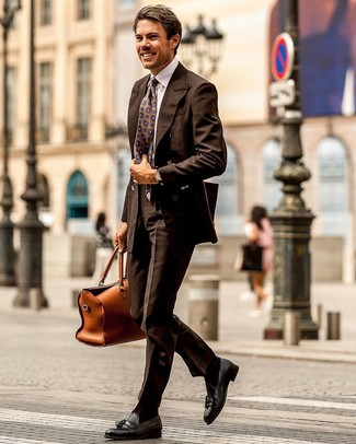 How to Wear Dark Brown Dress Pants For Men: Putting together a dark brown double breasted blazer and dark brown dress pants is a guaranteed way to breathe a classy touch into your styling arsenal. Wondering how to finish off? Introduce black leather tassel loafers to the equation to switch things up.