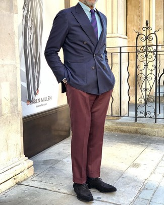 How to wear: black suede derby shoes, burgundy dress pants, light blue dress shirt, navy double breasted blazer