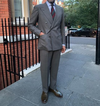 How to wear: olive leather derby shoes, grey dress pants, light blue dress shirt, grey double breasted blazer