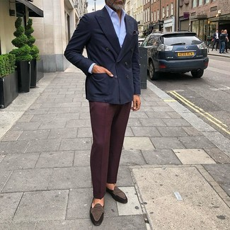 How to wear: dark brown suede loafers, burgundy dress pants, light blue dress shirt, navy double breasted blazer