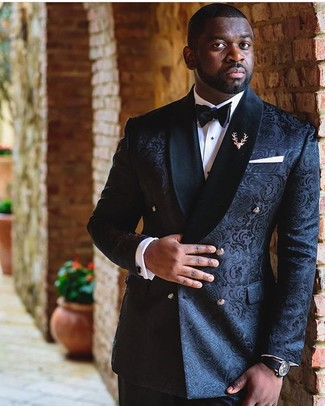 How to wear: black bow-tie, black dress pants, white dress shirt, black brocade double breasted blazer