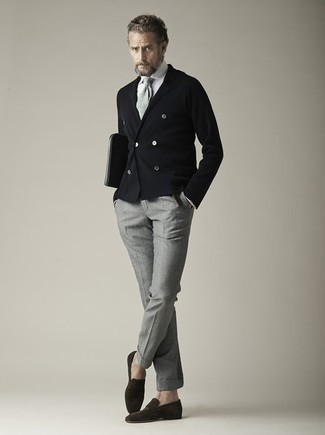 How to Wear a Black Double Breasted Blazer After 50 For Men: This pairing of a black double breasted blazer and grey wool chinos will add masculine essence to your ensemble. If you want to feel a bit fancier now, complete your getup with dark brown suede loafers.