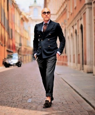 How to Wear a Black Double Breasted Blazer After 50 For Men: For a look that's classy and absolutely wow-worthy, rock a black double breasted blazer with black dress pants. Dark brown fringe suede loafers are an easy way to add a sense of stylish effortlessness to your outfit.