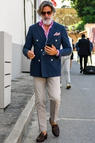 How to Wear a Pink Dress Shirt For Men: We love how this combination of a pink dress shirt and beige dress pants instantly makes men look sophisticated and dapper. Complement your look with dark brown leather loafers to keep the ensemble fresh.