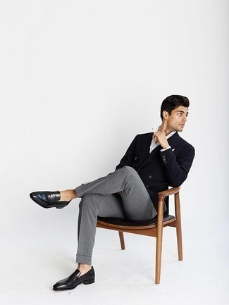 How to Wear Grey Dress Pants For Men: For an outfit that's refined and Bond-worthy, reach for a black double breasted blazer and grey dress pants. Finishing with black leather loafers is the most effective way to infuse a hint of stylish casualness into your ensemble.