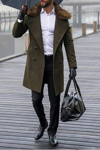 How to wear: black leather oxford shoes, black dress pants, white dress shirt, olive fur collar coat