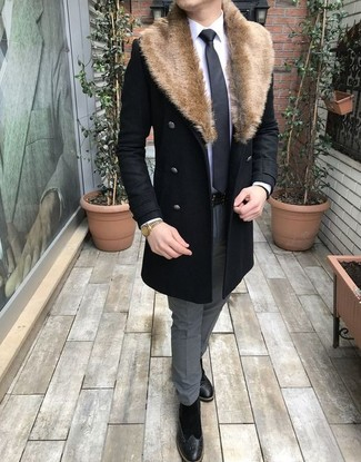 How to wear: black suede brogue boots, grey dress pants, white dress shirt, black fur collar coat