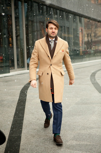 How to wear: dark brown suede loafers, blue dress pants, white dress shirt, camel overcoat