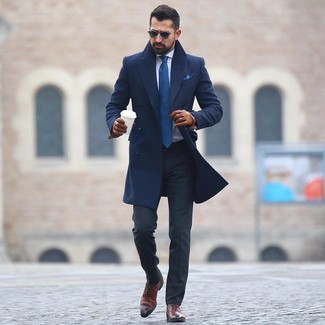 How to wear: brown leather oxford shoes, charcoal dress pants, white dress shirt, navy overcoat