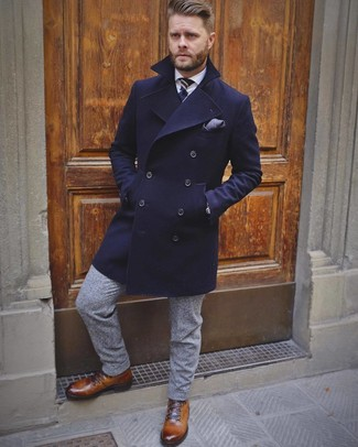 How to wear: brown leather casual boots, grey wool dress pants, white dress shirt, navy overcoat