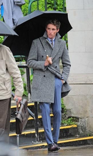 How to wear: dark brown leather oxford shoes, blue dress pants, light blue dress shirt, grey herringbone overcoat