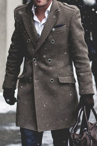 How to wear: dark brown leather holdall, black dress pants, white dress shirt, olive overcoat