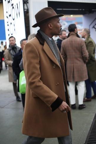 How to wear: dark brown wool hat, grey plaid dress pants, white dress shirt, camel overcoat