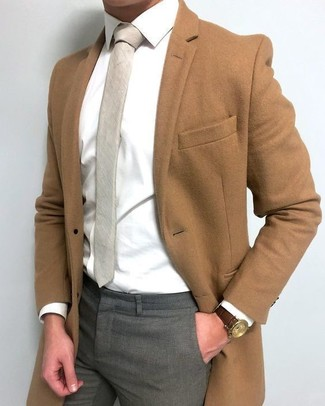 How to wear: beige tie, grey dress pants, white dress shirt, brown overcoat