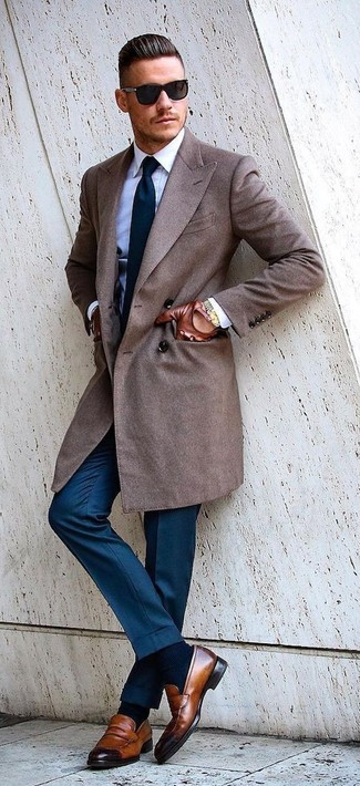 How to wear: brown leather loafers, blue dress pants, white dress shirt, brown overcoat