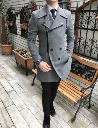How to wear: black suede chelsea boots, black dress pants, white dress shirt, grey pea coat