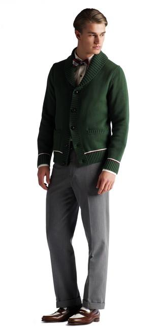 How to wear: dark brown leather loafers, grey dress pants, white dress shirt, dark green shawl cardigan