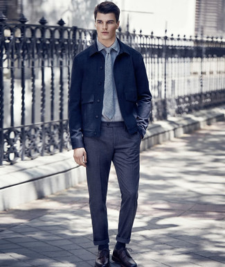 How to wear: burgundy leather derby shoes, charcoal wool dress pants, grey dress shirt, navy wool shirt jacket