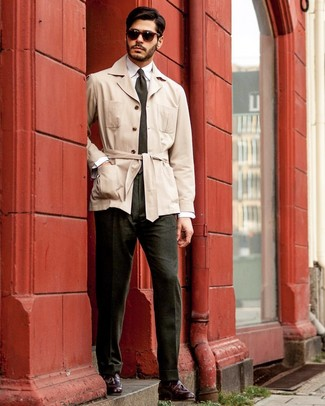 How to wear: burgundy leather tassel loafers, dark green dress pants, white dress shirt, beige trenchcoat