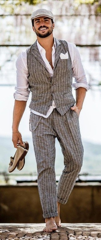 How to wear: tan suede tassel loafers, grey vertical striped dress pants, white dress shirt, grey vertical striped waistcoat