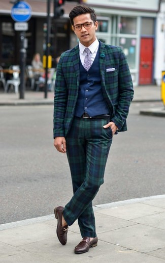 How to wear: dark brown leather loafers, navy and green plaid dress pants, white dress shirt, navy waistcoat