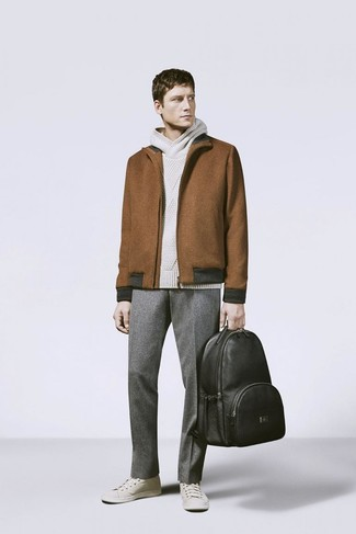 How to wear: beige low top sneakers, grey wool dress pants, beige knit hoodie, brown wool harrington jacket