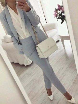 How to wear: white leather pumps, grey dress pants, white long sleeve blouse, grey blazer