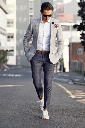 How to wear: grey low top sneakers, charcoal plaid dress pants, white long sleeve shirt, grey plaid blazer