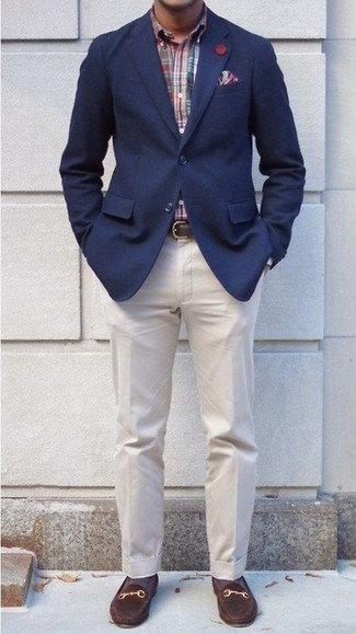 How to wear: dark brown suede loafers, beige dress pants, multi colored plaid long sleeve shirt, navy blazer
