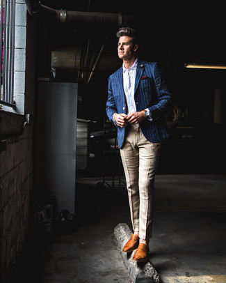 How to wear: tobacco leather loafers, khaki linen dress pants, white seersucker long sleeve shirt, blue vertical striped blazer